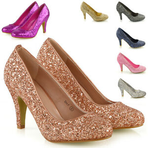 Womens-Glitter-Shoes-Bridal-Slip-On-Low-Heel-Ladies-Evening-Party-Courts-Size