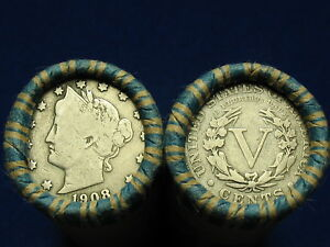 NICE-SHOTGUN-ROLL-FULL-OF-LIBERTY-V-NICKELS-FROM-OLD-COLLECTION-1883-1912