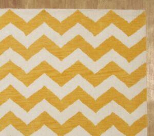 Zig Zag Chevron Yellow White Modern Hand Tufted 100 Wool Soft Area Rug Carpet Ebay
