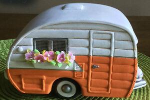 """Ceramic Bisque Ready to Paint """"Retro"""" Fairy Trailer"""