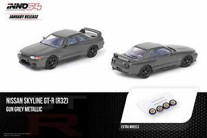 1:64 Nissan Skyline GT-R R32 -- Gun Grey Metallic w/Extra Wheels -- INNO64