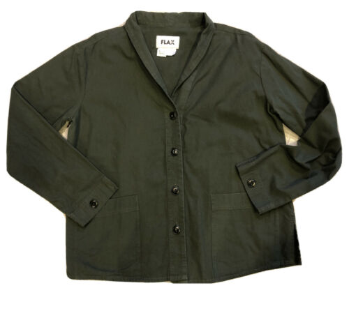 Flax Women Cotton Jacket Olive Green Buttons Size