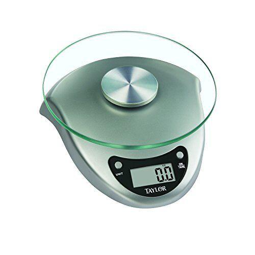Silver Taylor 6.6 Pound Digital Kitchen Scale with Glass Platform
