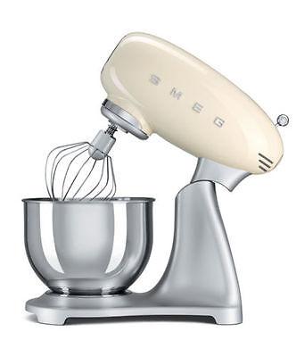 SMEG Cream SMF01CRUK Retro 50s Stand Food Mixer Whisk Hook 3 Year Guarantee