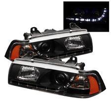 Pair Projector Head Lights Lamps 2 Door BMW E36 3-Series 1992-1998 DRL LED Black