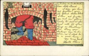 Christmas-Santa-Claus-in-Fireplace-Series-107-c1905-Postcard