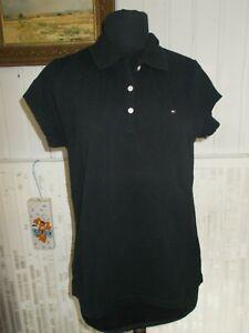 Polo-coton-noir-manches-courtes-TOMMY-HILFIGER-L-42-44-logo-brode