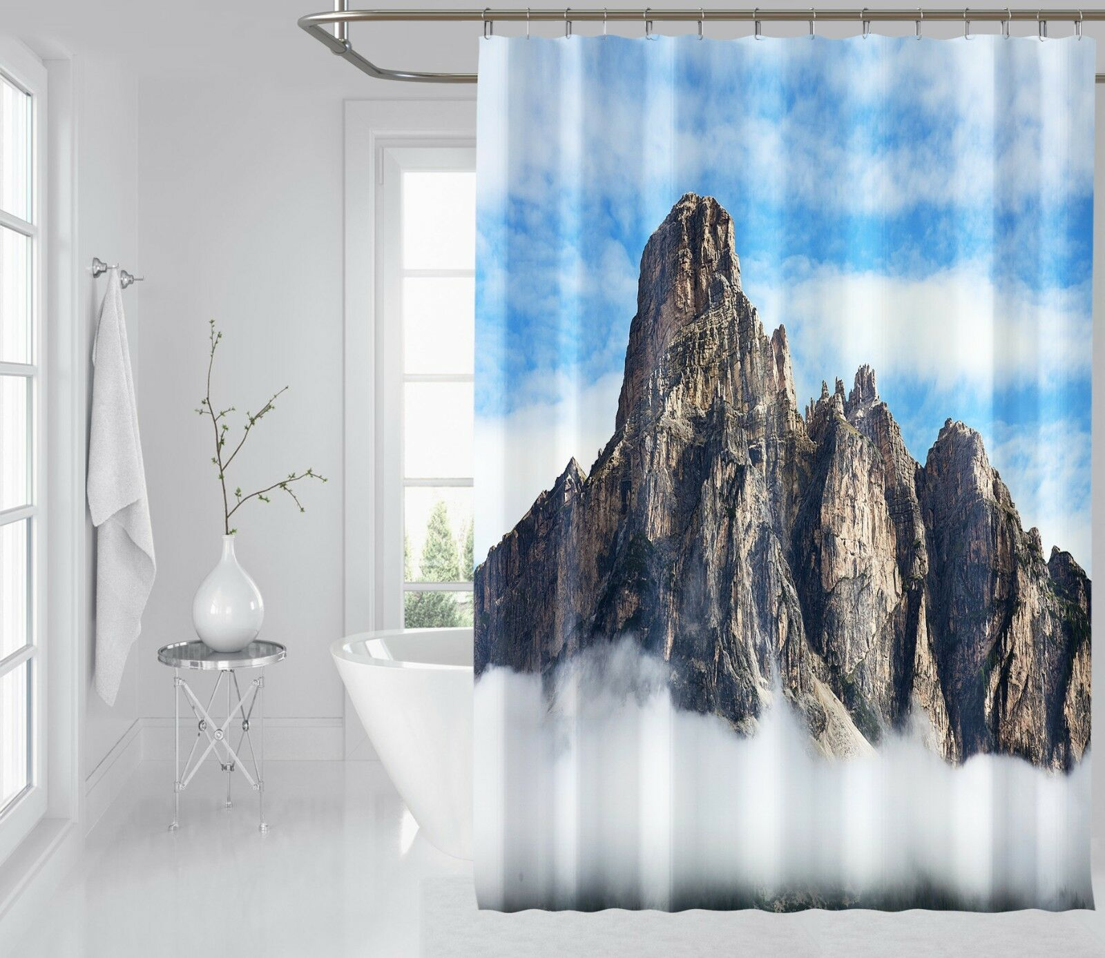 3D Mountain Peak 1 Shower Curtain Waterproof Fiber Fiber Fiber Bathroom Home Windows Toilet ba0fb7