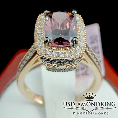 Large Pink Solitaire Round Cut CZ Gem Stainless Steel Cast Womens Ring Women