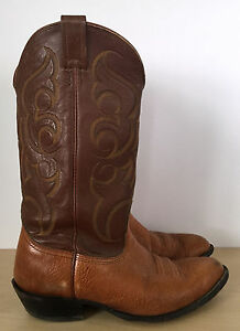 1a85ff8a530 Details about NOCONA Mens Brown Bullhide Leather Western Cowboy Boots Size  9.5 EE