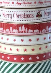 Bundle-of-Bertie-039-s-Bows-Festive-Christmas-Grosgrain-Ribbon-21m-gift-wrap-craft