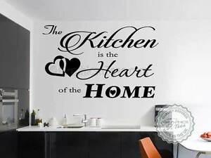Kitchen Wall Sticker, Kitchen is Heart of Home Family Wall Quote ...