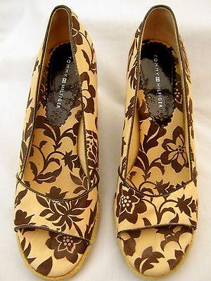 Tommy Hilfiger Beige Marrón Alpargata Zapatos Tacón Alto Cuña Floral Vacaciones 41