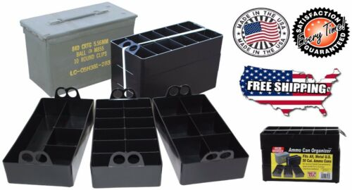 Military Ammo Can Organizer Tray 50 Cal Waterproof Tool Box Army Durable Stack