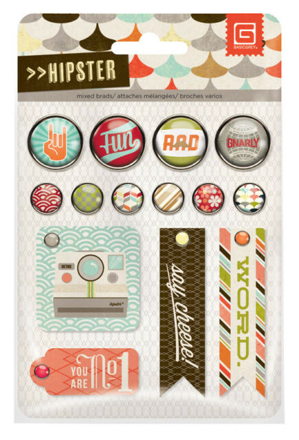 BasicGrey HIPSTER Mixed Brads Set RETRO scrapbooking CLEARANCE SALE!