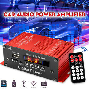 Mini Auto HIFI Audio Stereo Verstärker 2CH bluetooth Subwoofer FM Amplifier