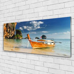 tableau murale impression sous verre 125x50 paysage bateau mer ebay. Black Bedroom Furniture Sets. Home Design Ideas