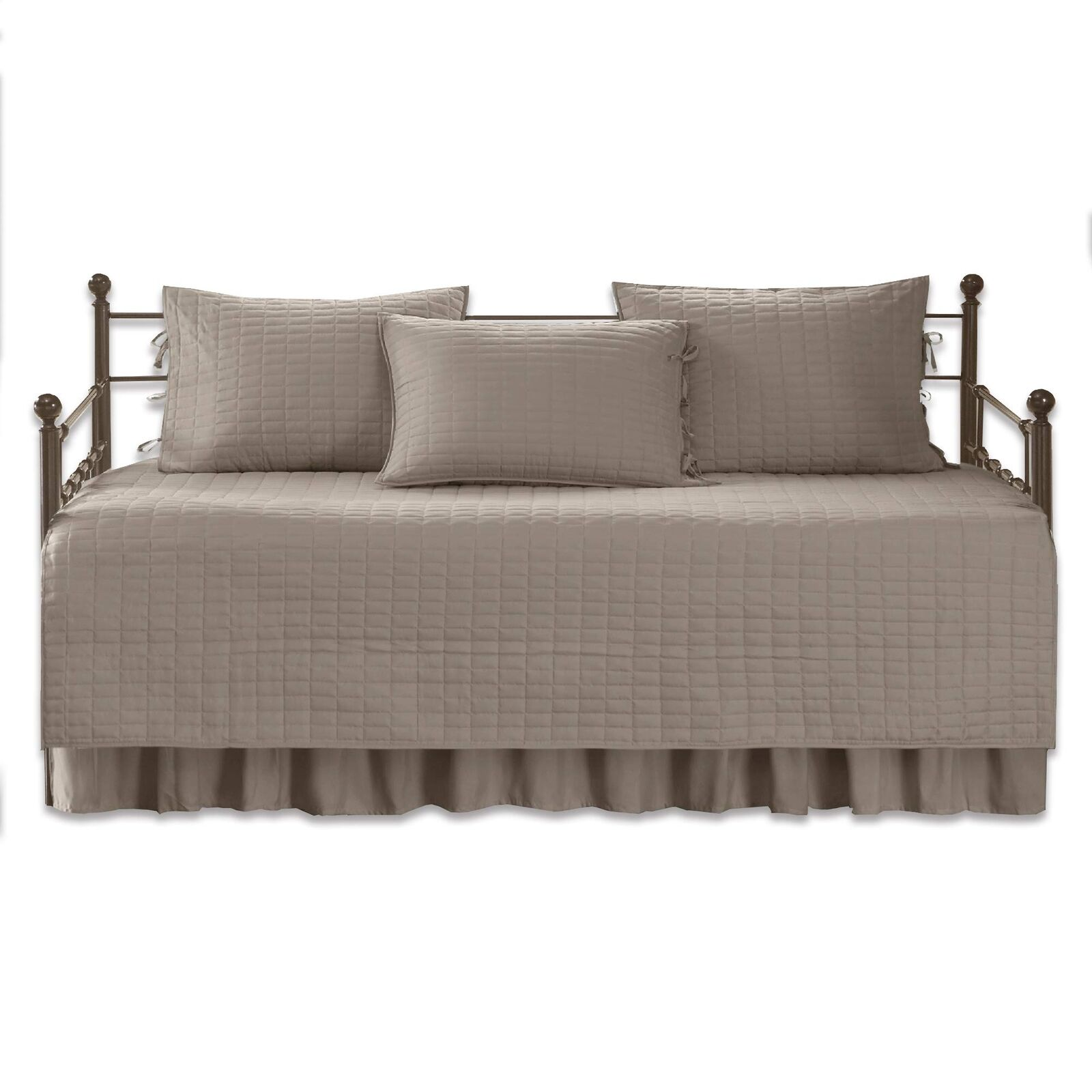 Comfort Spaces - Kienna Daybed Set - Stitched Quilt Pattern - 5 Pieces - Taupe -