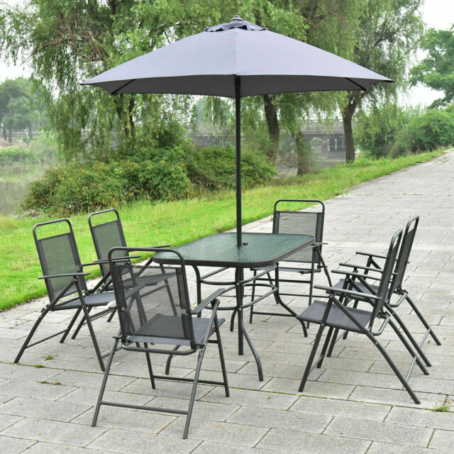 Fine 8Pcs Patio Garden Set Furniture 6 Folding Chairs Table With Umbrella Gray Pdpeps Interior Chair Design Pdpepsorg