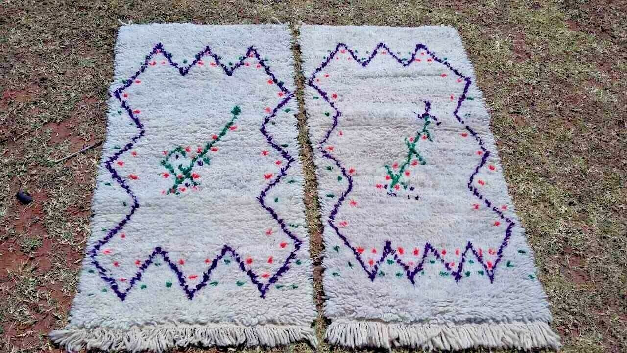 Vintage Moroccan  Hand Woven Berber Rug Azilal Beni ourain Rugs   4.1x 2.1 ft