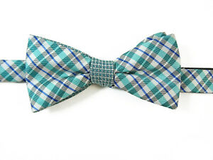 Pre-Tied-Bow-Tie-Plaid-Bowtie-Blue-Teal-Green-Gray