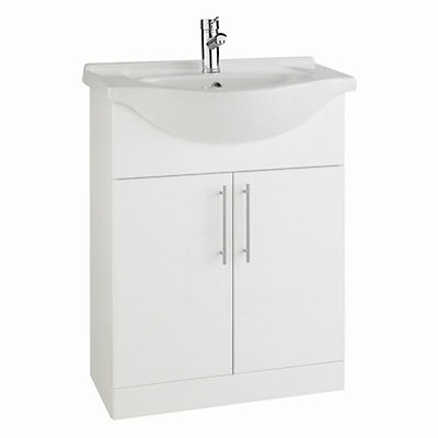 650mm Classic Furniture Basin Vanity Unit White Finish Floor Standing Blanco