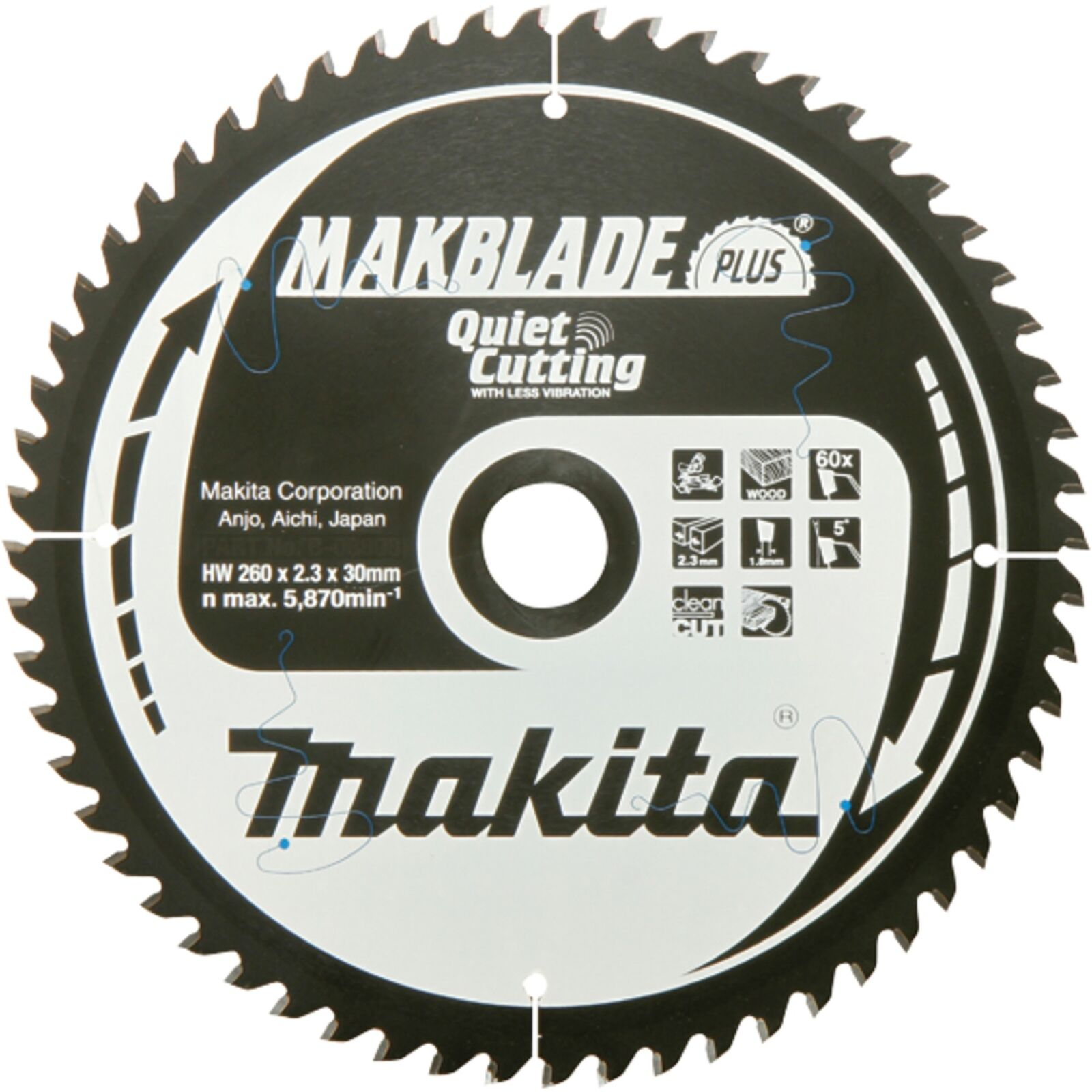 Makita Sägeblatt 260mm x 30 x 60Z, B-32524
