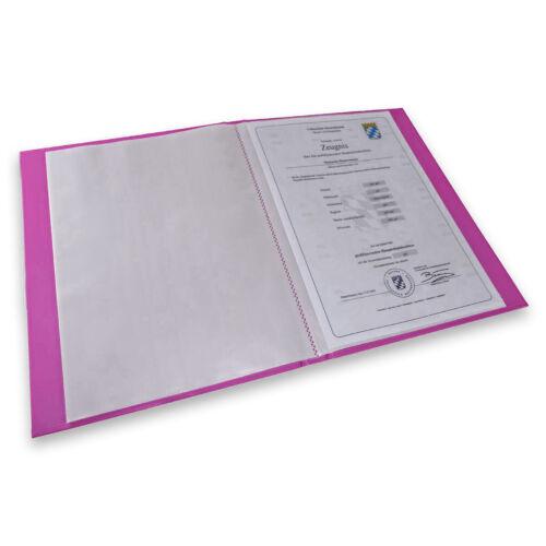Kinder Zeugnismappe mit Gravur mit 20 Klarsichthüllen DIN A4