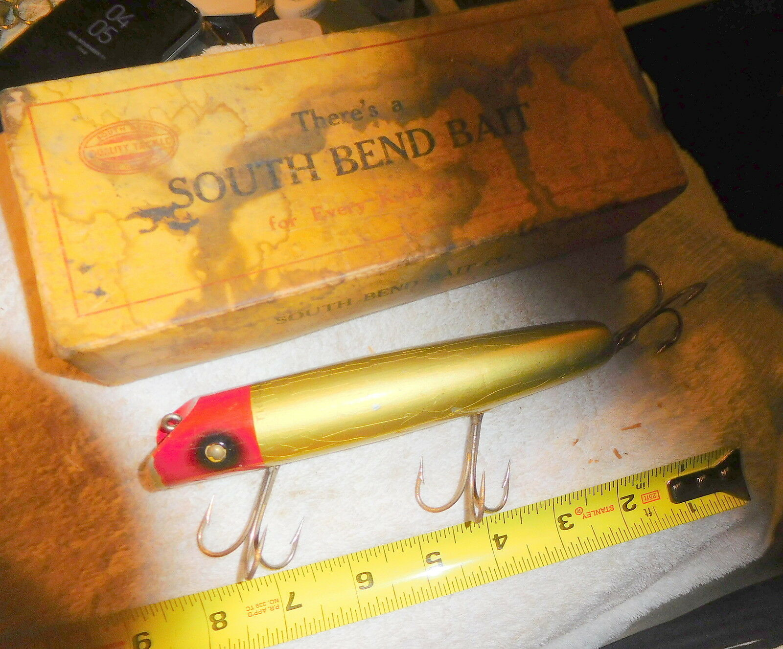 Vintage fishing lure South Bend Troll Oreno BIG BAIT,with  RARE BOX,salt  free delivery