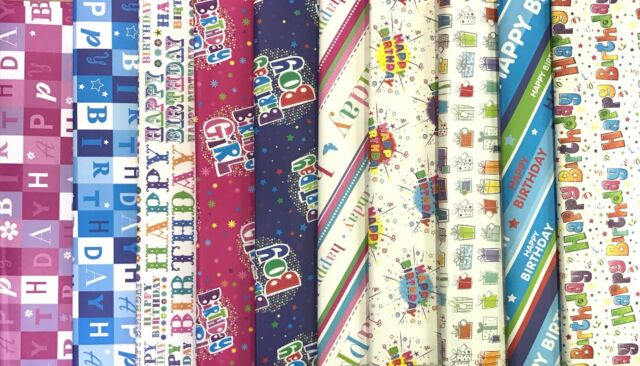 Happy Birthday Wrapping Paper 10 Assorted Design Sheets 1 Sheet Of Each