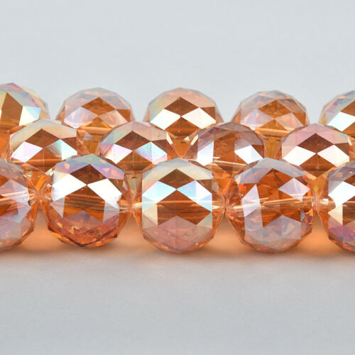 7 beads bgl1789 30mm PEACH AB Round Faceted Crystal Glass Beads