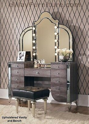 Upholstered Vanity, Mirror, Bench Crystal Accents Hollywood Bedroom Furniture