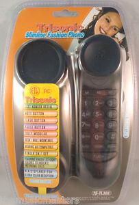Black-Wall-Desk-Corded-Slim-HOME-TELEPHONE-Landline-Lighted-Flashing-LED-Ringer