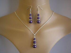 3-Perla-amp-Diamante-Collar-Y-Pendientes-Set-De-Joyeria-dorado-o-plateado