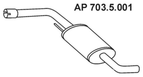 EBERSPÄCHER Mittelschalldämpfer 703.5.001 für VW 70A 7DB 70B TRANSPORTER 70C T4