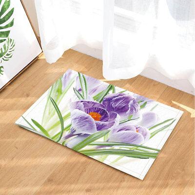 Iris Flower Purple Botany Plant Bathroom Rug Non Slip Floor Door Mat Flannel Ebay