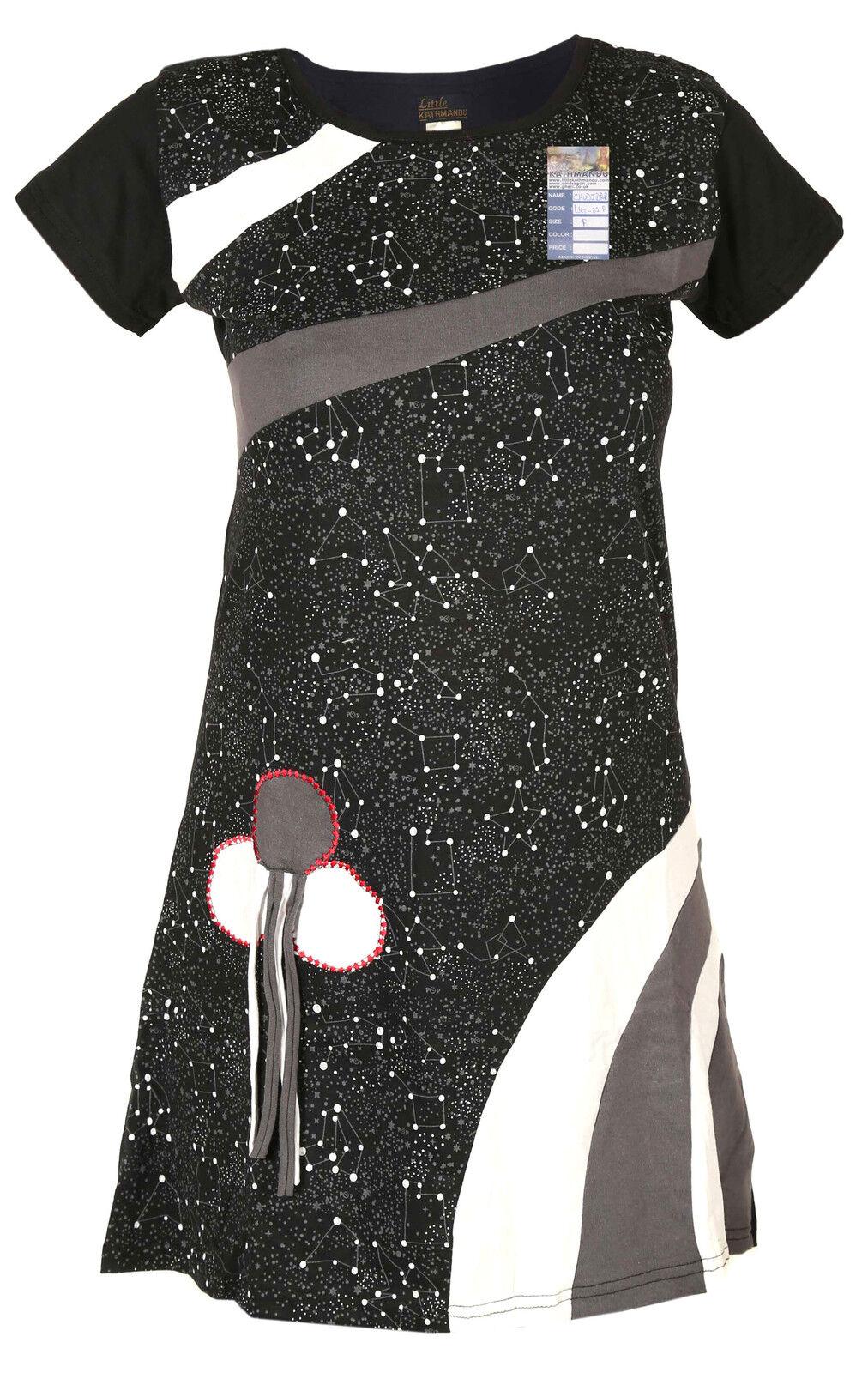 women manica corta corta corta tessuto stampato black PSICHEDELICO COTONE NATURALE ESTATE 4e5d16