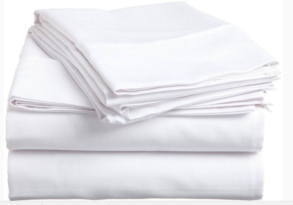 100 new white standard size pillowcase cotton blend t-130 premium elite