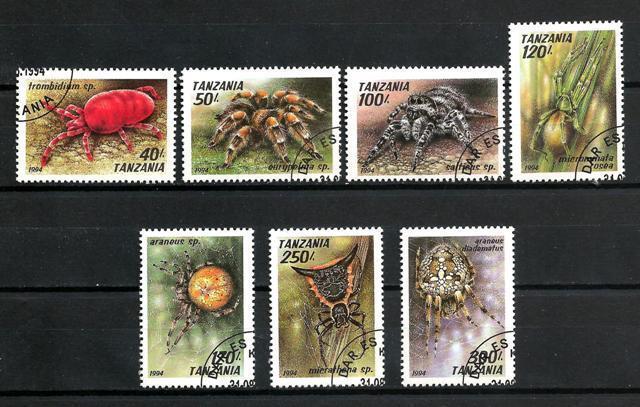 Insectos Tanzania (21) serie completo de 7 sellos matasellados