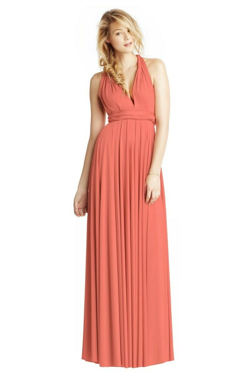TWOBIRDS CLASSIC BALLGOWN BRIDESMAID DRESS - CORAL - SIZE 1