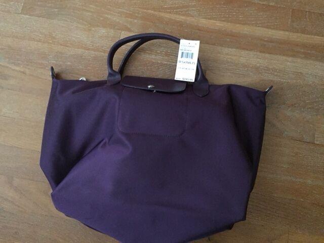 Longchamp Le Pliage Neo Medium Travel Crossbody Satchel Bag Bilberry Auth  for sale online  0bddbe045d3dd