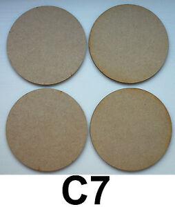 4 X 100 Mm (10 Cm) En Bois, Cercle, (base Ronde) Formes Découpe Laser Mdf, Blanc-afficher Le Titre D'origine