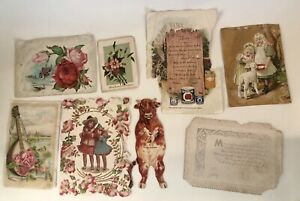 Victorian-Mixed-Lot-Picture-Trade-Cards-Die-Cut-Cow-Mandola-Children-Flowers-Ads