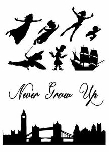 Peter Pan Wendy Never Grow Up London Skyline Silhouette Edible