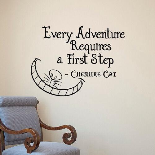 Alice au pays des merveilles Cheshire Cat chaque aventure Mur Art Vinyle Autocollants Décor
