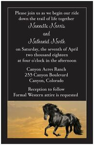 50-100-Western-GALLOPING-Black-HORSE-Country-6X9-PERSONALIZED-WEDDING-Invitation