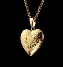 """18K Gold Plated Heart Locket Pendant Necklace Photo 22"""" Link Chain Gift Bag"""