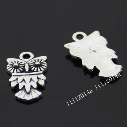 20pc Tibet Silver Owl Animal Pendant Charms Beads Accessories Wholesale PL727