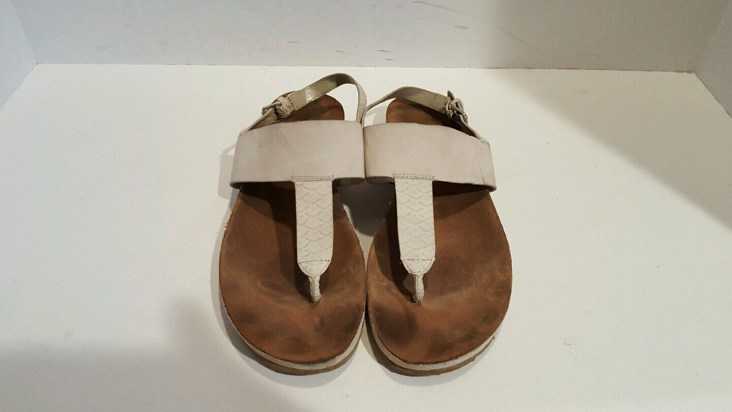 Franco Sarto Womens Flip Light Gray Leather Slingback Flip Womens Flops Size 8 9a3d96
