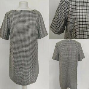 AVENUE-Women-039-s-Shift-Dress-Houndstooth-Print-Check-Black-White-Office-Blooger-16